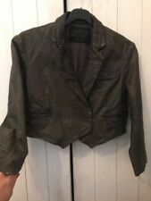 All Saints Cropped Leather Jacket Size 10