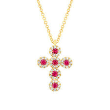 14K Yellow Gold Natural Round Ruby and Diamond Tiny Cross Pendant Necklace .26CT