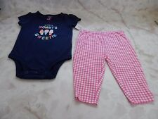 Baby Girl 3 Months Carters Pink Blue Mommy's Sweetie Romper Check Pants Outfit