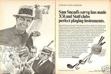 1970 2 Page Print Ad of Wilson X-31 Staff Golf Club w Samuel Sam Jackson Snead