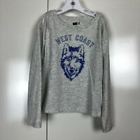 Crazy 8 Boys Gray Long Sleeve Graphic Tee West Coast Wolf Shirt Size Small 5-6