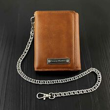 Biker Motocycel Leather Trifold Card Holder Wallet With Chain Brown