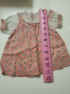 Antique Doll Dress Print & Lace, excellent for vintage dolls