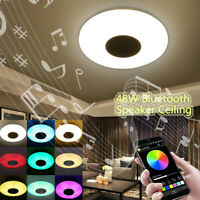 Modern Music Ceiling Light 48W 36 LED Bluetooth Chandelier Lamp Fixture RGB
