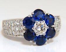 3.66ct natural sapphires diamond cluster ring 14kt royal blue floretta