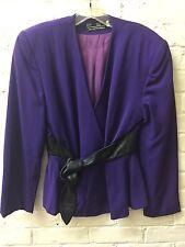 Vtg 80s S purple Wool Leather Peplum Jacket Blazer Alvin Bell PSI  Lined EC
