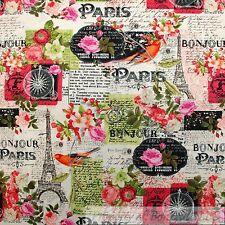 BonEful FABRIC FQ Cotton Quilt B&W Pink Red Rose Flower Eiffel Tower Paris Bike