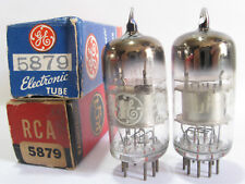2 matched 1950's RCA 5879 tubes- Silver Plate, 3Mica,Top [ ]  (TV-7B @ 46, 46)