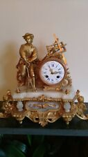 Antique restored French Gilt Figural  8 Day Striking Mantle Clock Circa 1860