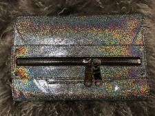 MILLY Designer Purse Holographic Clutch With Snake Chain Hologram Silver Purse