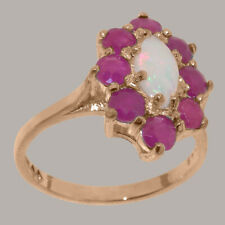 Solid 9ct Rose Gold Natural Opal & Ruby Womens Cluster Ring - Sizes J to Z