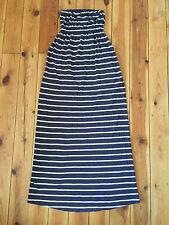 JACK WILLS LADIES NAVY BLUE STRIPPED STRAPLESS COTTON MAXI DRESS - UK8 (US4)