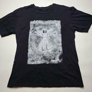 Leonardo Da Vinci Vetruvian Man T Shirt Men's LARGE Black Art History Painting