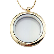 Special Living Memory Glass Round Locket Charms Necklace Pendant 0v White