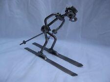 Recycled Metal Welded Skier Art Sculpture Figurine Winter Sports