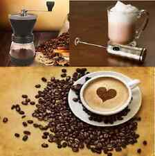 COFFEE BEAN MILL GRINDER CERAMIC BURR, with lids, scoop & brush + MILK FROTHER