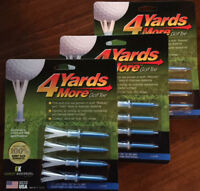"New 4 Yards More 3 1/4"" Golf Tees Three Pack Special - Twelve Tees"