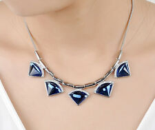 18K White Gold GP Blue Sapphire Crystal Necklace Pendant Fashion Gift Stunning