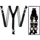 New in box Men's Suspender Black white dots elastic braces clips buttons