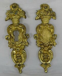 Antique French Bronze Furniture 2 Decoration Escutcheon Keyhole Cover 19th