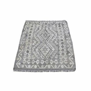 """2'10""""x4' Gray Afghan Kilim Reversible Undyed Natural Wool Hand Woven Rug R66304"""