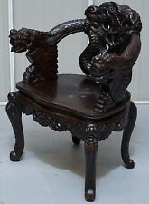 CIRCA 1870 QING DYNASTY CARVED EBONISED ROSEWOOD CHINESE DRAGON THRONE CHAIR