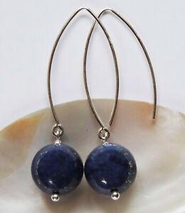 MOH 111-06 Lapis Lazuli Ohrringe 925 Silber Sterlingsilber Ohrhänger blau