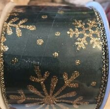 """Wired Green Ribbon With Gold Snowflakes 2.5"""" X 3 Yards"""