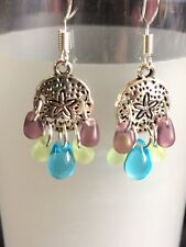 Tiny Sea Star Dangle Earrings With Czech Tear Drop Glass Beads