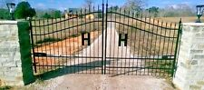 Custom Built Driveway Entry Gate 13ft Wide, Dual Swing, Handrails, Fence, Beds.