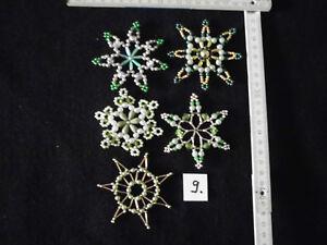 Weihnachtsstern 5 Perlensterne gold+silber+weiß+grün Weihnachten Deko Handarbeit