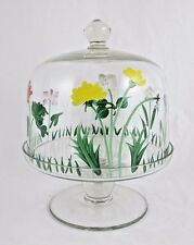 Small Glass Cake Cheese Stand With Cover Hand Painted Floral Design