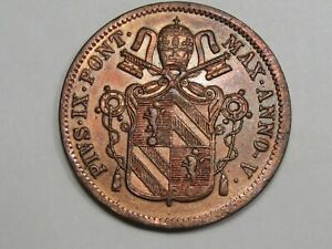PAPAL States Coin: Unc 1850 1 Baiocco. Pope Pius IX. KM-1345.  #15