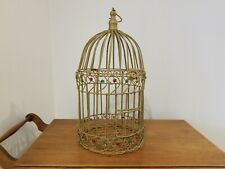 """Vintage Gold Wired Domed Bejeweled Bird Cage Round Decorative 19"""" Tall Euc"""