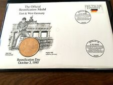 Official German Reunification Medal & First Day Cover-from PCS NOW 27YRs old10/3