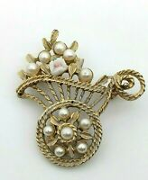 Vintage Flower Cart Brooch Pin Faux Pearls White Enamel Pink Rose Gold Tone