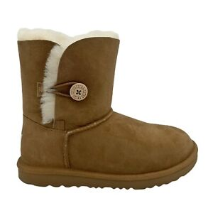 UGG BAILEY BUTTON CHESTNUT SUEDE SHEARLING CLASSIC TODDLER BOOTS US SIZE 11