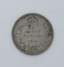 1913 Canadian silver coin 5 cents F condition