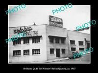 OLD POSTCARD SIZE PHOTO OF BRISBANE QLD THE WEBSTERS BISCUIT FACTORY c1953