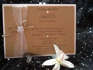 VINTAGE, RUSTIC, LACE & PEARL PEARSONALISED WEDDING INVITATION