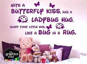 nursery wall art, With a butterfly kiss, and a ladybug hug, sticker graphic fun