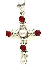 Cross Ruby & Pearl Pendant 925 Silver Handmade Jewelry July & June Birthstones