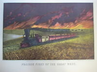 Vintage Currier & Ives America Color Print, Prairie Fires Of The Great West