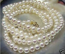 AAA 7-8mm natural akoya white Pearl Necklace 20 inch 14K