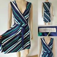 OASIS Women Dress & Belt Size L UK 14 Blue/Green Wrap Style Top Part Summer