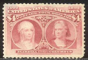U.S. #244 Unused VF App - 1893  $4.00 Columbian ($1,000)