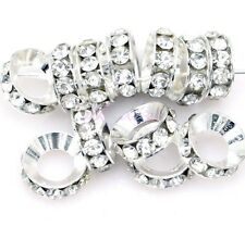 15Pcs New Silver Clear Crystal Rhinestone Big Hole Copper Spacer Beads 13x5mm