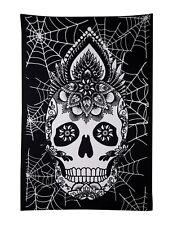 "Indian Wall Hanging Tapestry Bed Sheet Sugar Skulls Black & White Mandala 84"""
