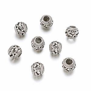 50pcs Tibetan Silver European large Hole Beads Mini Metal Rondelle Spacer 11x9mm