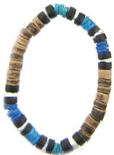 6x Blue Puka Shell Stretchy Bead BRACELETS with Brown Coco Beads - Wholesale NEW